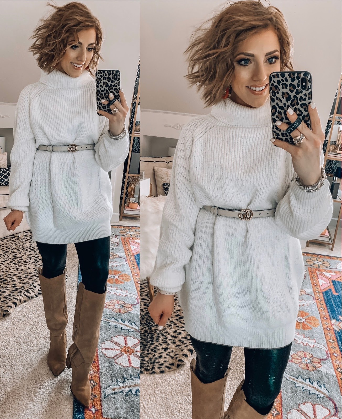 Recent Amazon Finds - Under $40 Sweater over Faux Leather Leggings - Something Delightful Blog #AmazonFashion #RecentFinds #Hearts #ValentinesDay #AffordableFashion