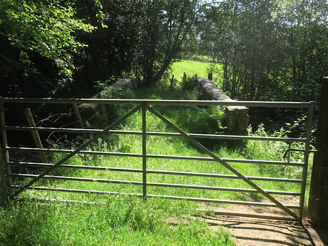 Gate leading to stone bridge over Luddenden Brook. 25th June 2020