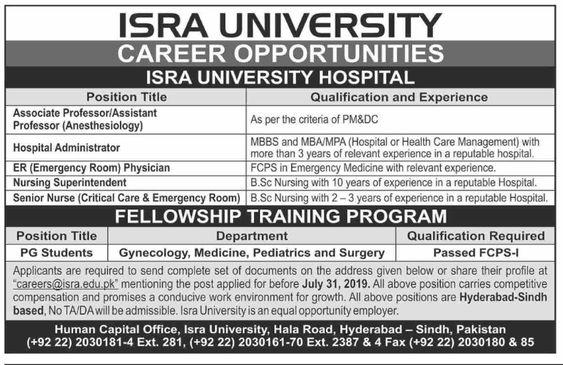 Isra University Hospital (Career Opportunities ) & Fellowship
