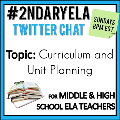 Join secondary English Language Arts teachers Sunday evenings at 8 pm EST on Twitter. This week's chat will be about curriculum and unit planning.