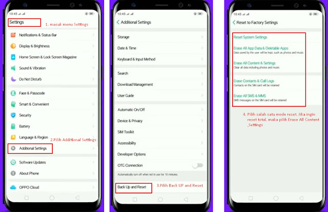 cara reset hp oppo - via menu settings