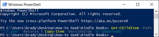 بعد كتابة الأمر ، يبحث PowerShell في جميع المجلدات الفرعية بنسخ أي شيء داخل امتداد الملف المحدد.