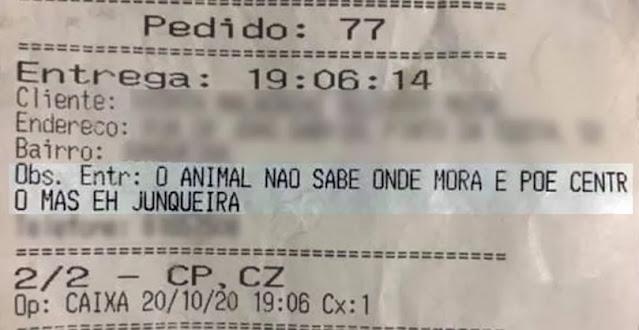 """Pedido que chama o cliente de """"animal"""""""