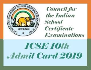 ICSE Admit card 2019 Download, ICSE 12th Hall ticket 2019 Download, ICSE 12th Admit card 2019 Download