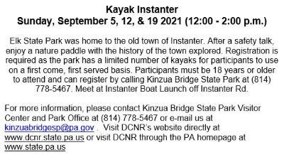 9-19 Kayak Instanter, Elk State Park