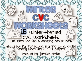 http://www.teacherspayteachers.com/Product/Winter-CVC-Worksheets-15-Sheets-for-Fun-Centers-Morning-Work-Homework-Etc-489281