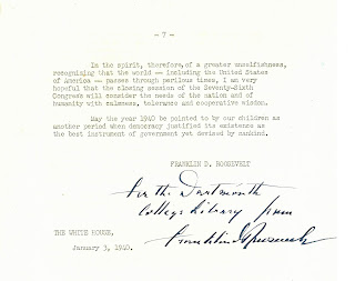 Franklin D. Roosevelt's inscription to the Dartmouth College Library