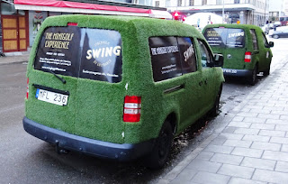 The Swing by Golfbaren vans outside the indoor minigolf course and speakeasy in Stockholm Sweden