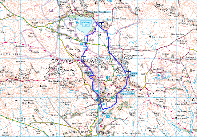 Map route Malham Cove via Gordale Scar Walk and Malham Tarn, Yorkshire Dales
