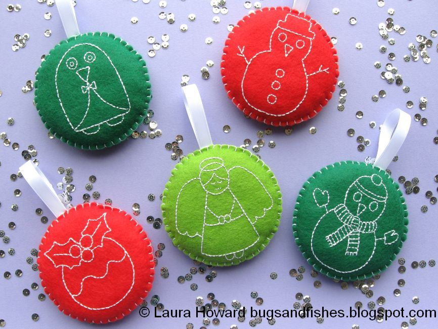 Today Im Sharing A Tutorial For Making Felt Christmas Ornaments Decorated With Festive Embroidery