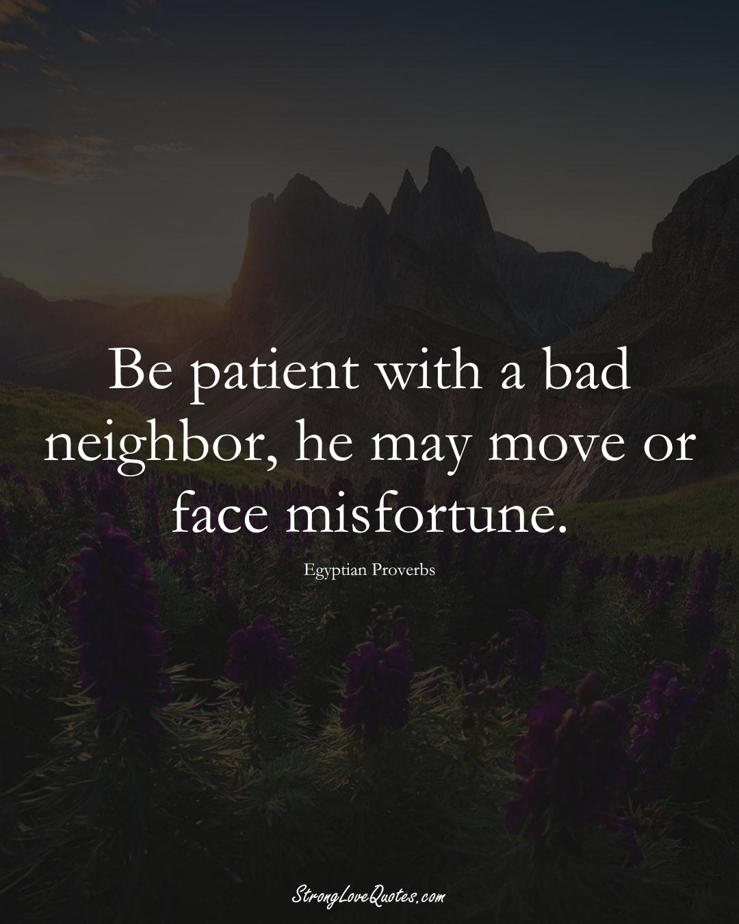 Be patient with a bad neighbor, he may move or face misfortune. (Egyptian Sayings);  #MiddleEasternSayings