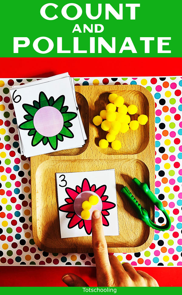 FREE Bee themed activity for preschool and kindergarten kids, perfect for Spring or Summer math centers. Teach kids the importance of bees and what it means to pollinate flowers. Then, let them have a blast with this number sense activity that works on number recognition, counting and more!