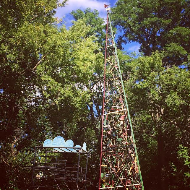 Brilliant tower at West Street Sculpture Park in Galena