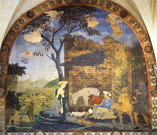 Baldovinetti's Nativity in the Basilica of Santissimi Annunziata in Florence with the Arno river in the background