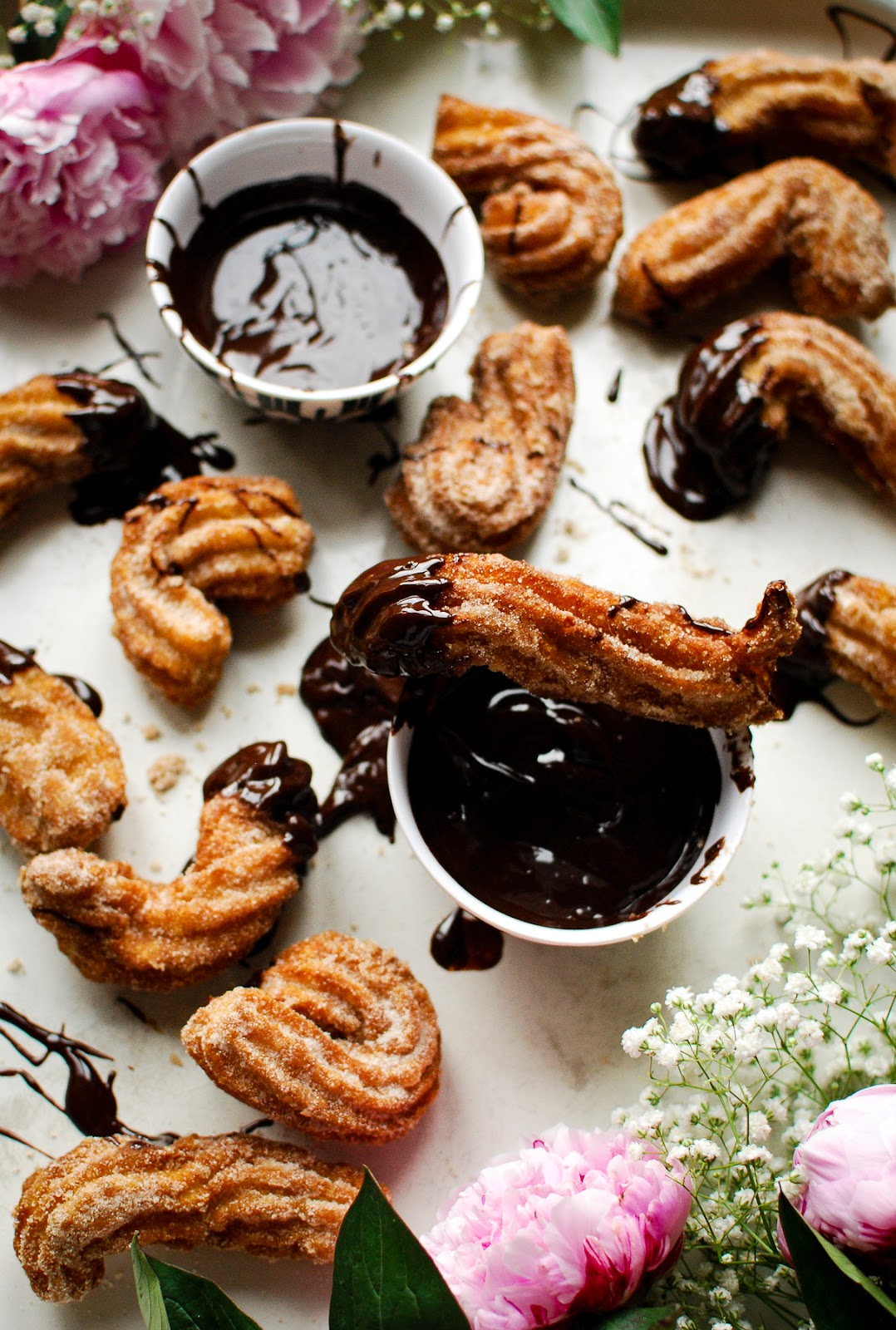 Churros with a hot chocolate dipping sauce. I know, right?!