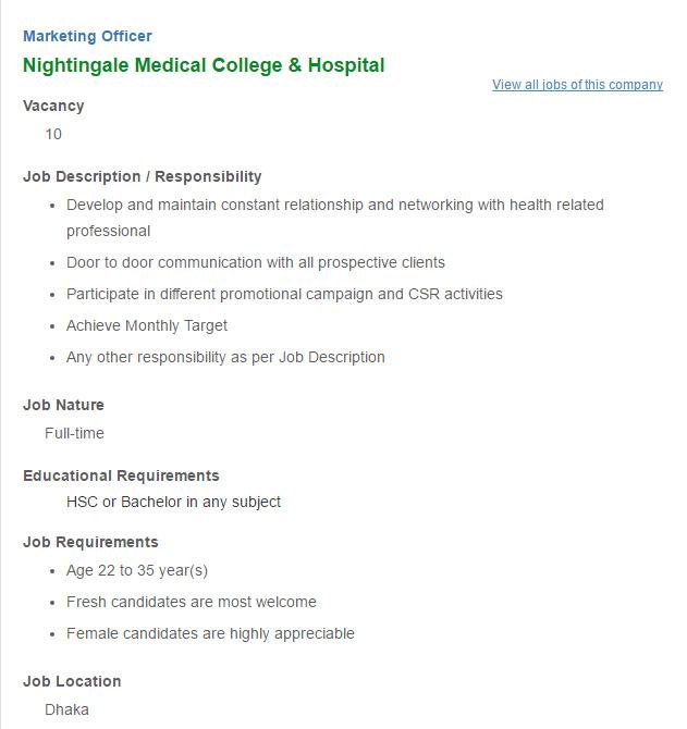 Nightingale Medical College Hospital Marketing Officer Job – Marketing Officer Job Description