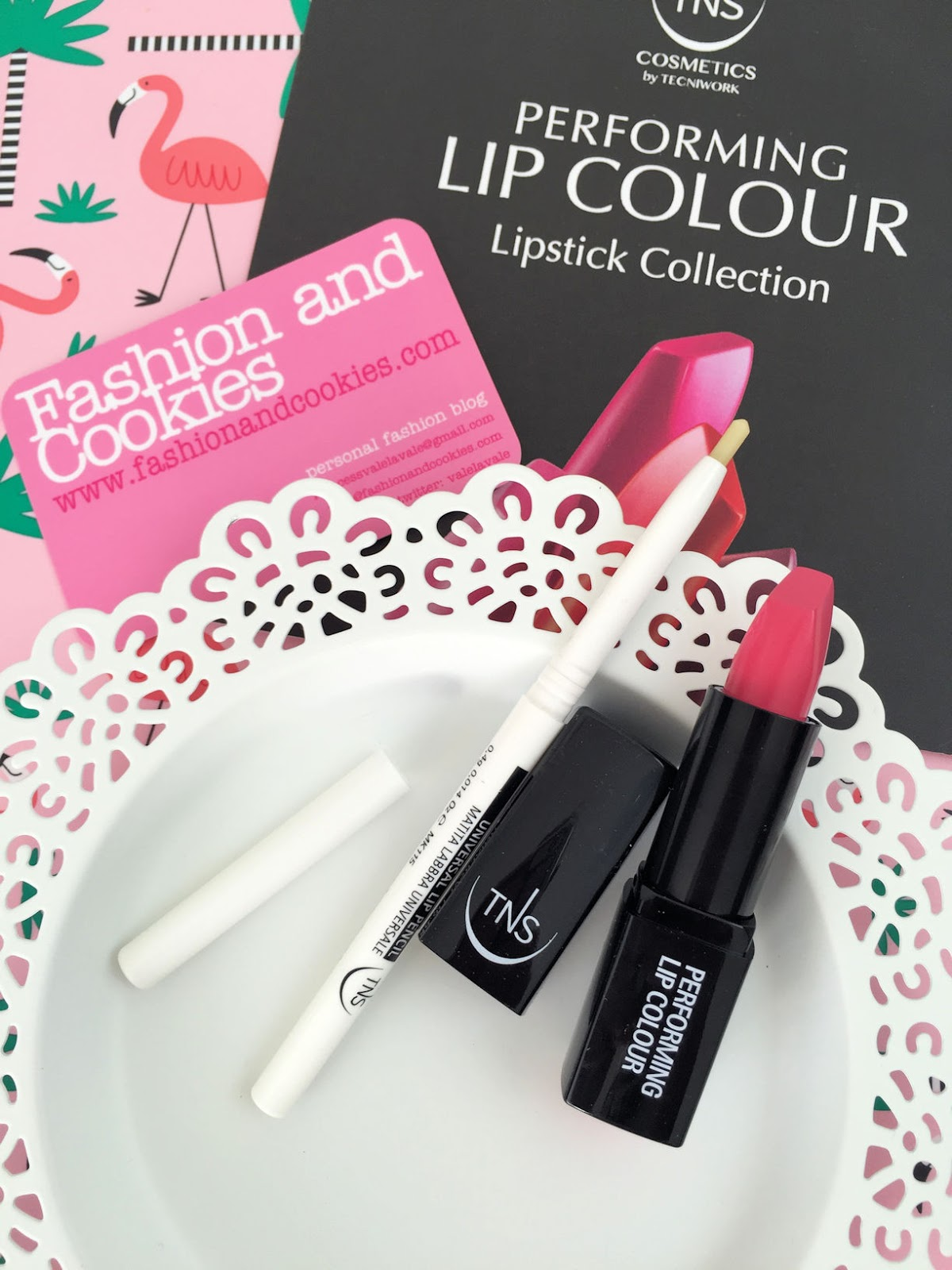 TNS Cosmetics Lipstick Collection review of Universal Lip Pencil and Sweet Hibiscus on Fashion and Cookies beauty blog, beauty blogger