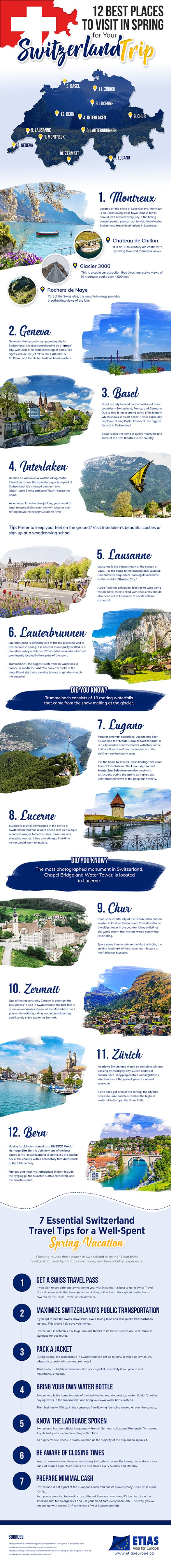 12 Best Places to Visit in Spring for Your Switzerland Trip #infographic