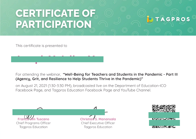 Day 3 | August 21 | Certificate of Participation | Tagpros August 2021 4-Day Webinar Series