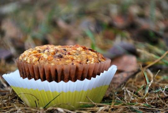 Jesienne muffinki dyniowe z sezamem i  z czekoladą
