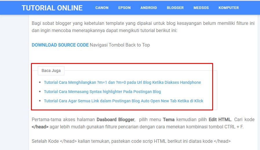 Related Post Otomatis Postingan Blog