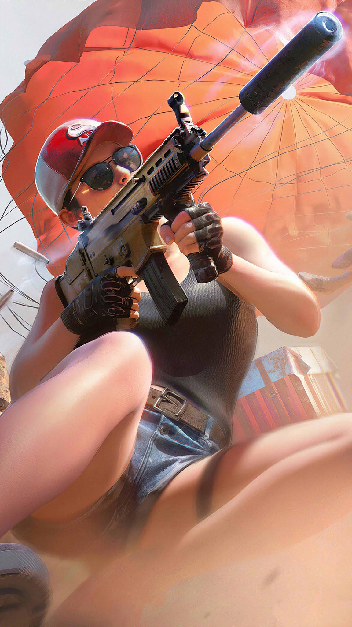PUBG Girl Gun Fire Mobile Wallpaper