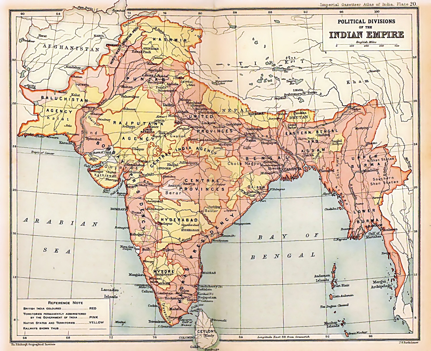 the british indian empire from the 1909 edition of the imperial gazetteer of india areas directly governed by the british are shaded pink the princely