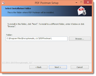 Choose a folder to install PDF Postman