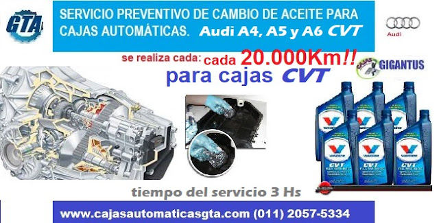 Servicio para caja automatica cvt de audi