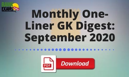 Monthly One-Liner GK Digest: September 2020