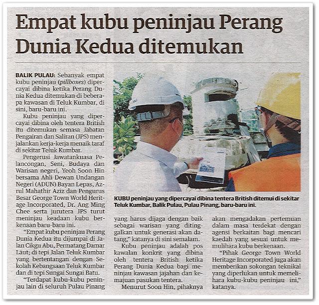 Empat kubu peninjau Perang Dunia Kedua ditemukan - Keratan akhbar Utusan Malaysia 10 Oktober 2020