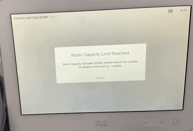 Reminder display on Cisco Touch 10 devices, when a room exceeds capacity