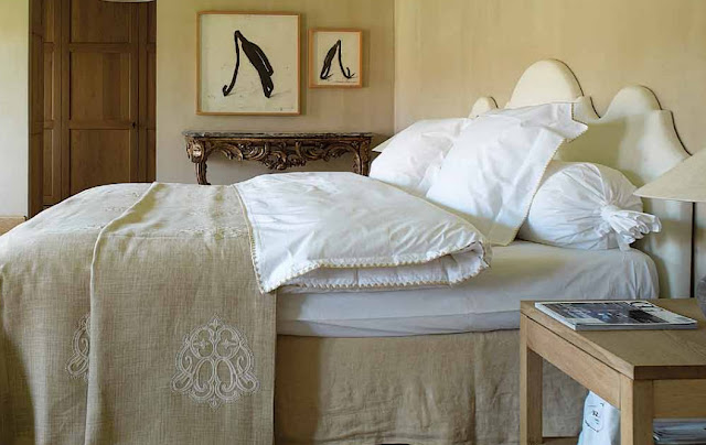 Garnier bedroom, linens available via Garnier Interiors, image via Garnier (be) website (Vivre Country feature) as seen on linenandlavender.net