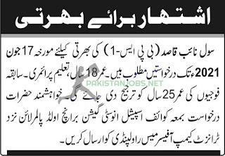 Pakistan Army Special Investigation Branch Rawalpindi Jobs 2021