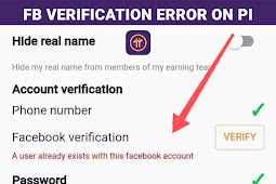 A User Already Exists With This Facebook Account - Pi Network FB Verification Error