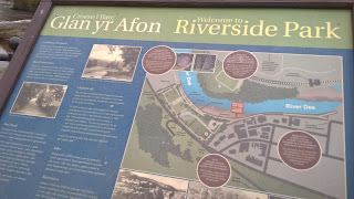 Illustrated information board about the Glan Yr Afon Riverside Park.