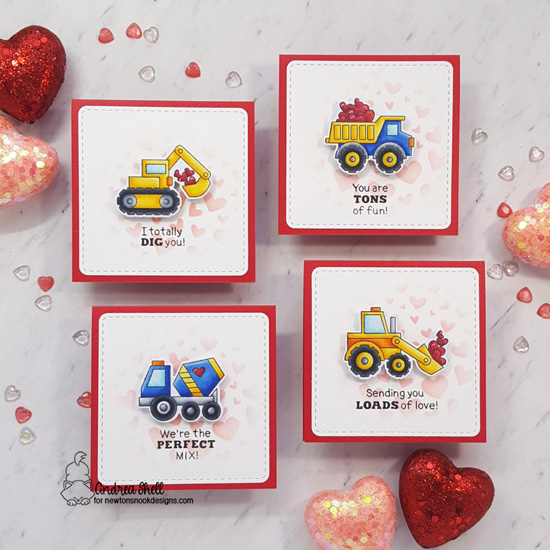 Construction Trucks Mini Valentine Cards by Andrea Shell | Love Quarry Stamp Set, Tumbling Hearts Stencil and Frames Squared Die Set by Newton's Nook Designs #newtonsnook #handmade