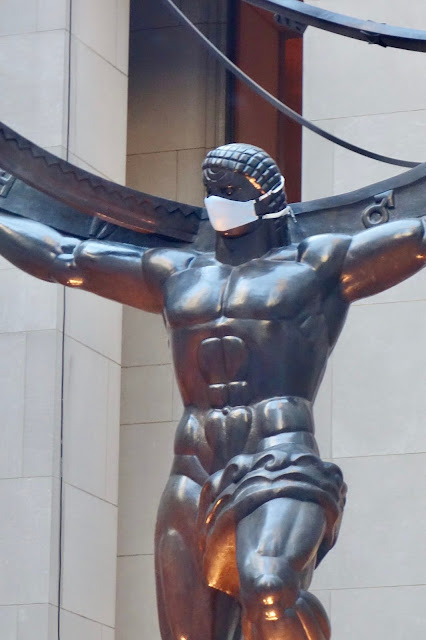 New York City Landmarks, Atlas, Atlas by Lee Lawrie, Atlas sculpture wearing a mask, Covid, pandemic