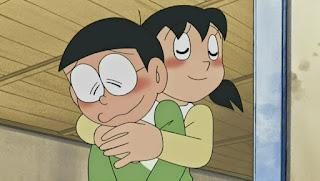 Nobita and Shizuka love hug