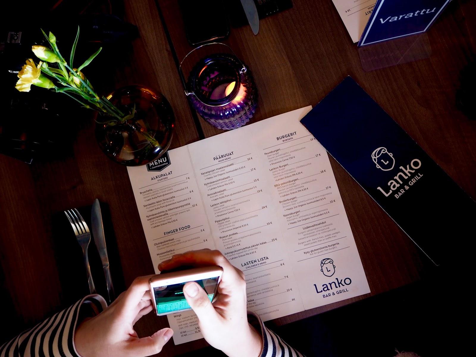 Bar & Grill Lanko ravintolan menua päivitetään usein.