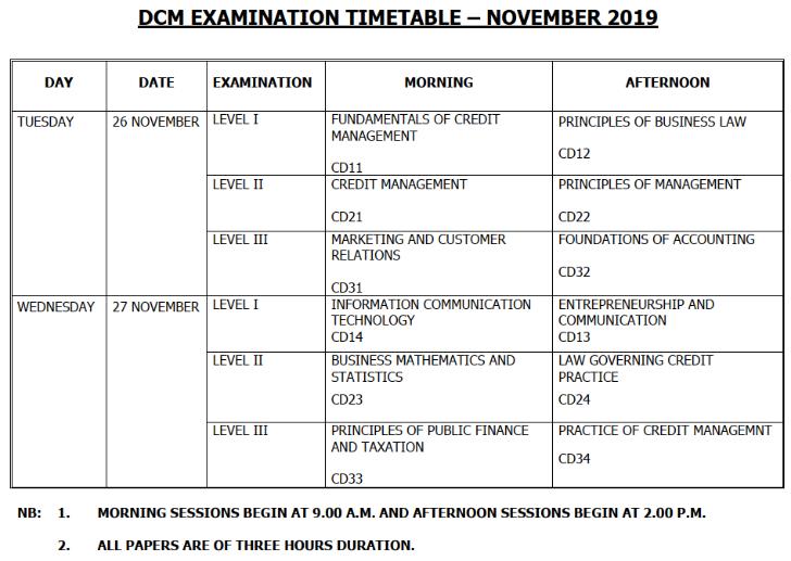 DCM Examination Timetable – November 2019