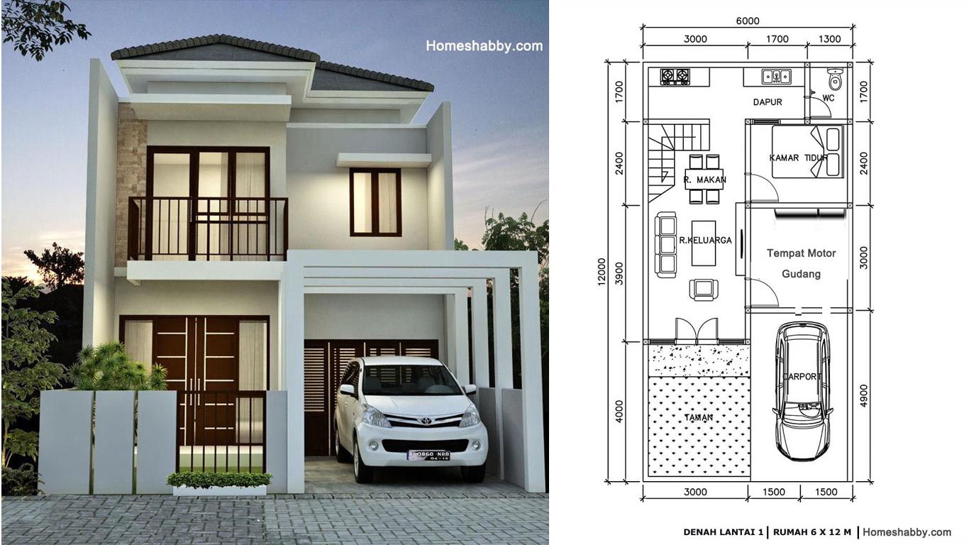 Desain Dan Denah Rumah Minimalis 2 Lantai Dengan Luas Lahan 6 X 12 M Konsep Sederhana Walaupun Kecil Cocok Untuk Keluarga Besar Homeshabby Com Design Home Plans Home Decorating And Interior Design