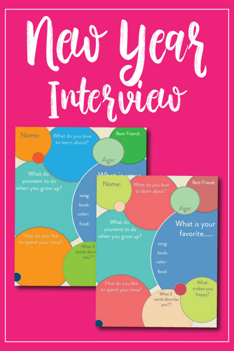 New Year Printable interview questions for kids