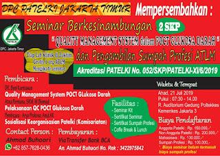 Seminar Berkesinambungan DPC PATELKI Jakarta Timur 2019