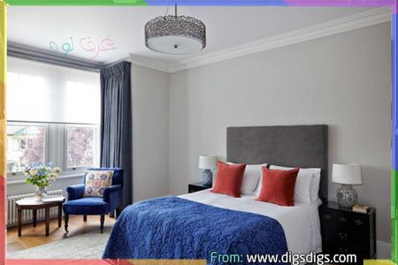 غرف نوم رمادي وازرق مع اللون الاحمر