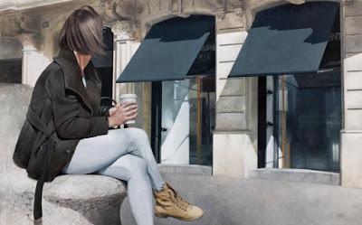 Marc Figueras pinturas foto-realistas mulheres anônimas de costas bicicletas andando pela cidade