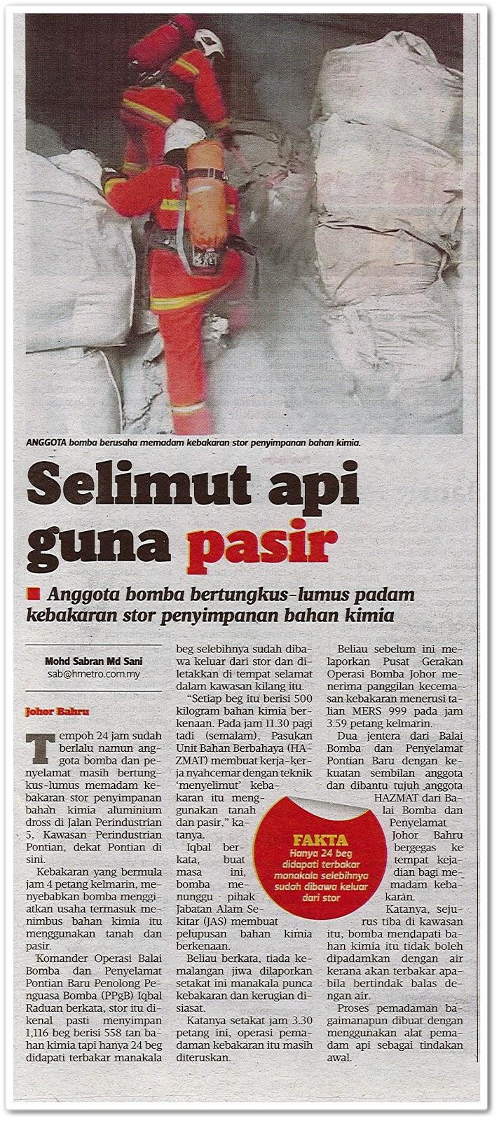 Selimut api guna pasir - Keratan akhbar Harian Metro 23 Ogos 2019