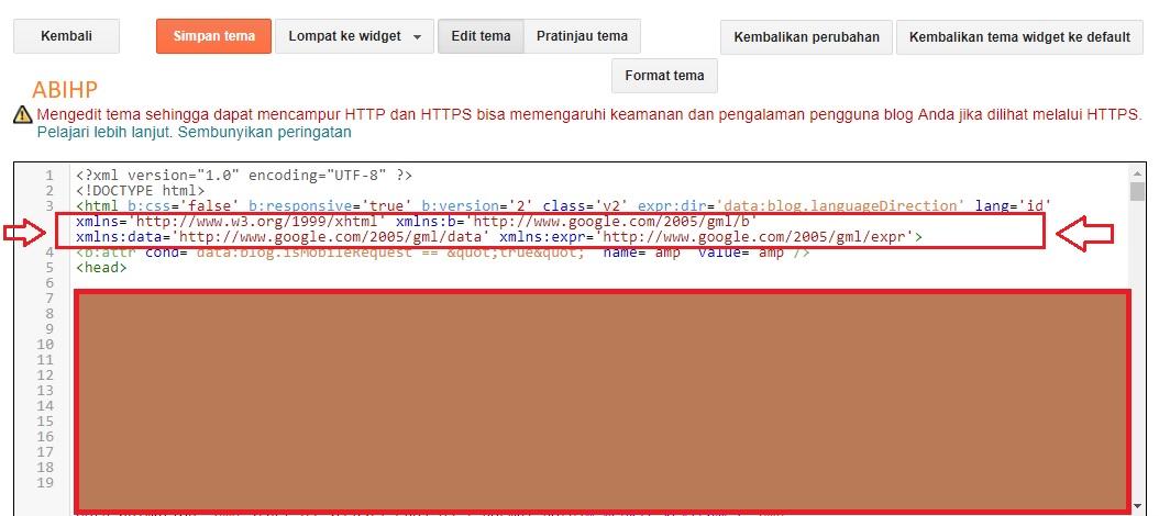 Muncul kode xmlns di template penyebab error amp.
