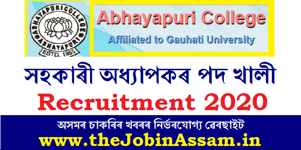 Abhayapuri College, Bongaigaon Recruitment 2020: Assistant Professor [ 03 posts]
