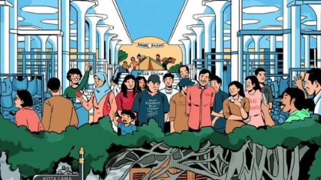 Unggah Kartun Pasar Johar Ramai, Jokowi Dituding Sebar Hoaks